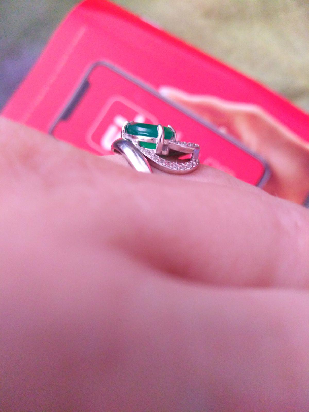 Кольцо с агатом и фианитами