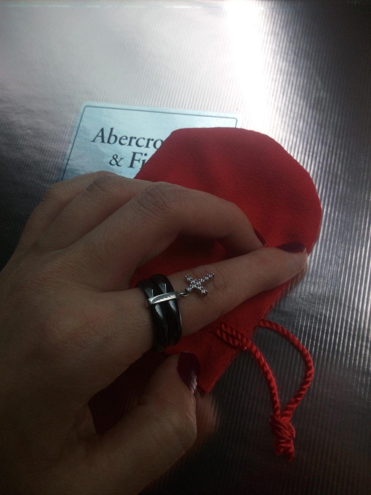 Кольцо из керамики с серебром