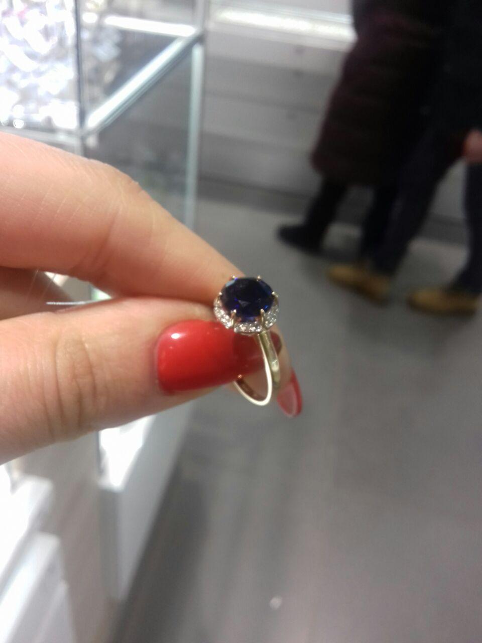Кольцо сапфировое с бриллиантами