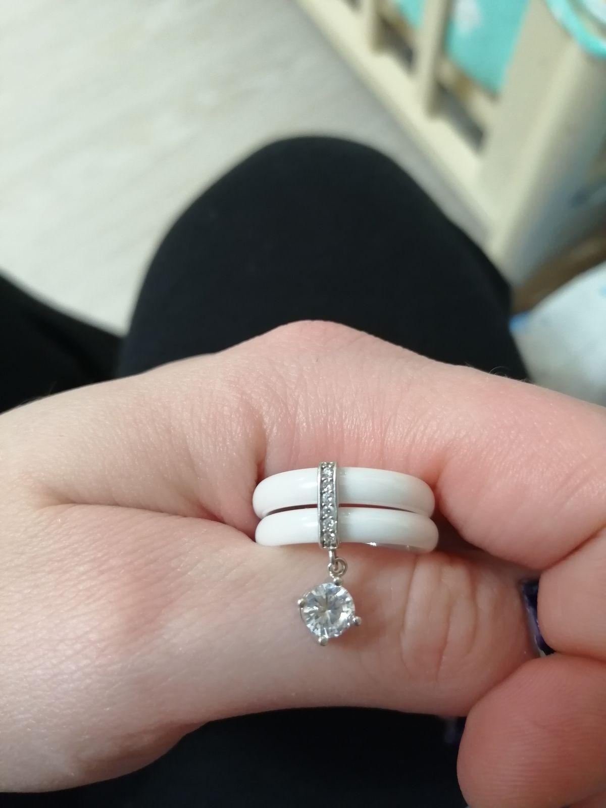 Кольцо керамическое с подвеской
