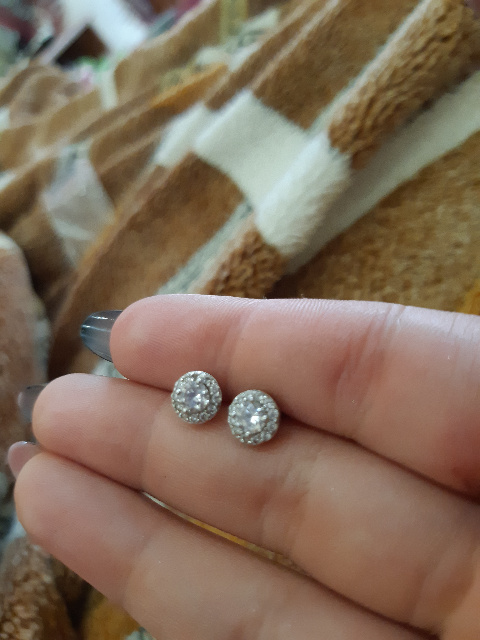 Серебрянные гвоздики с фианитами от санлайт