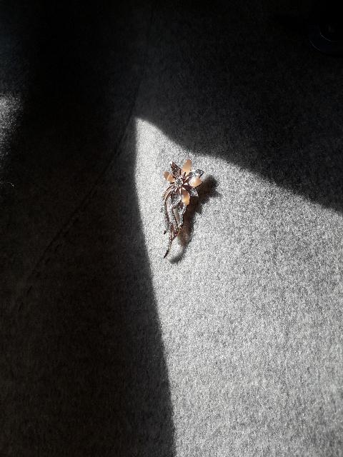 Брошь из серебра позалоч., с фианитами и кошачьим глазом.