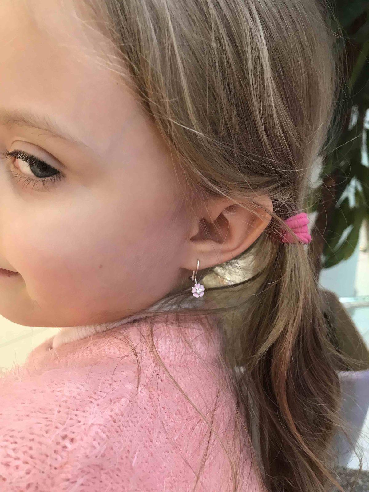 Серебряные серьги с эмалью детские