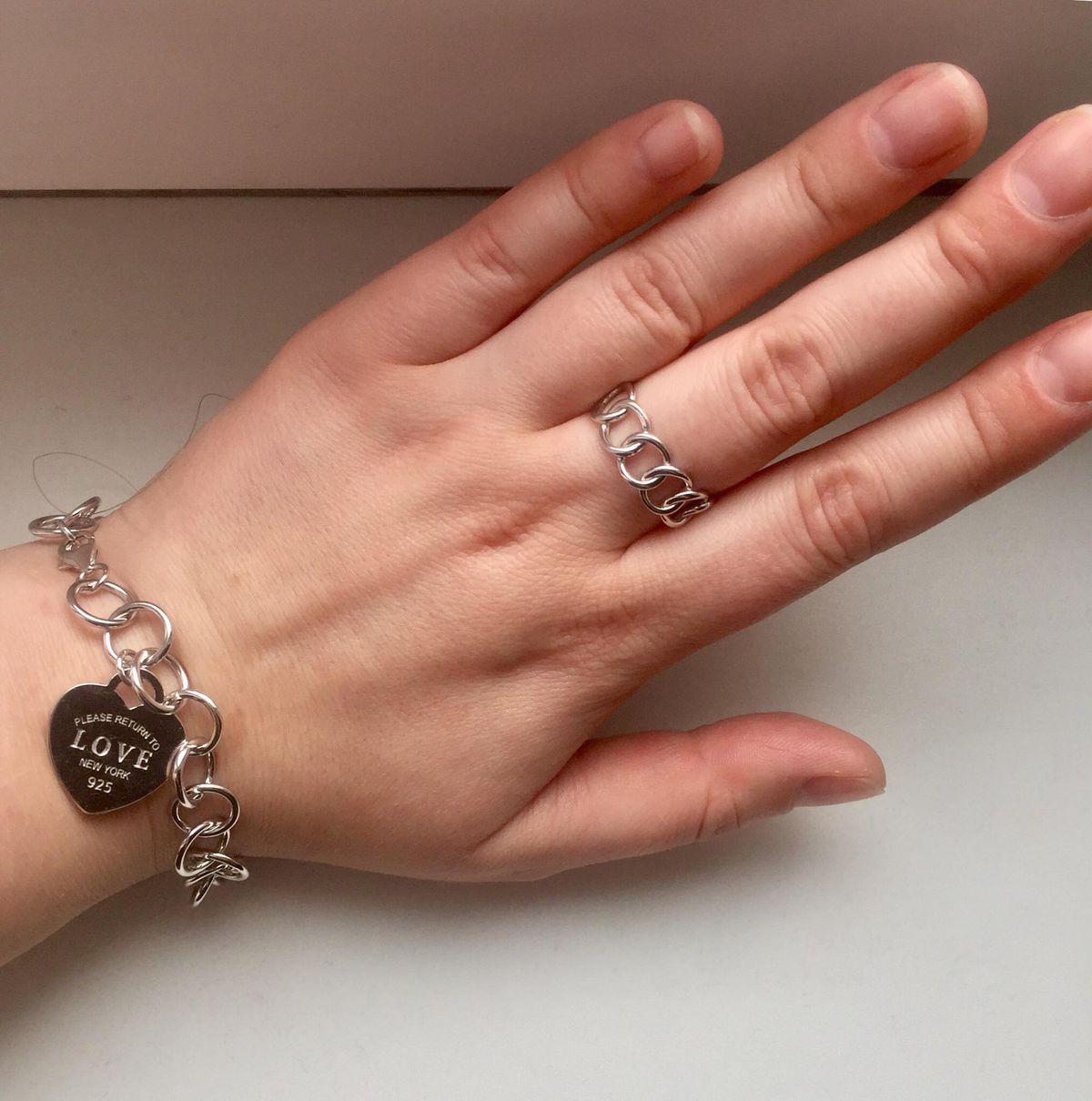 Кольцо-цепь из серебра