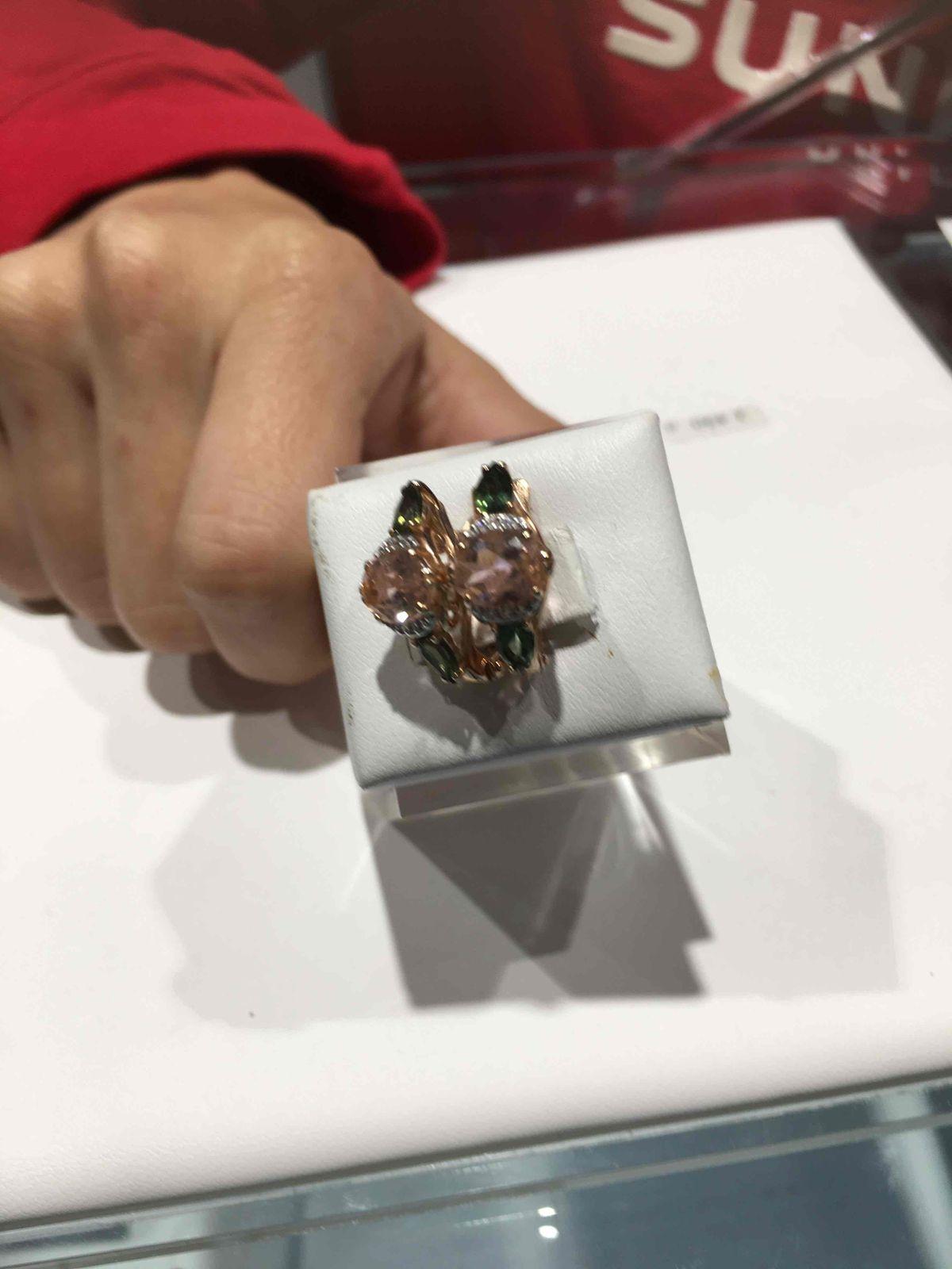 Золото 585 пр вставка морганит и турмалин
