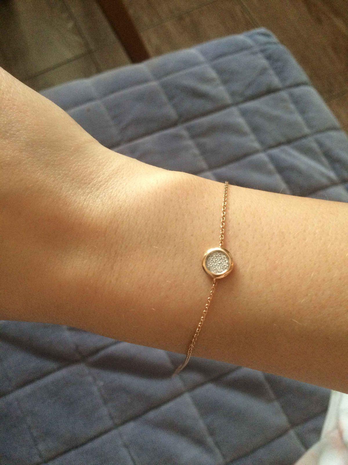 Золотой нежный браслет с брюлликами